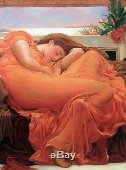 Femme endormie d'apres Leighton huile sur toile / painting on canvas woman