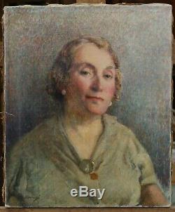 Fernand DUROZÉ (1876-1961) portrait femme, pointilliste, impressionnisme