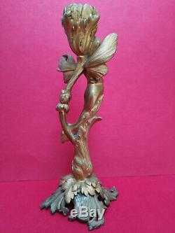 Figurine bougeoir art nouveau Jugendstil bronze dore femme ailées libellule