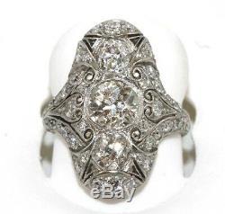 Fine Art Déco Rond Ancien Européenne Coupe Cluster Diamant Femme Bague Platine