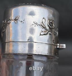 Flacon En Cristal En Argent Minerve Art Nouveau Jugendstil Silver Bottle Femme