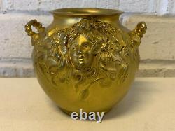 Français Antique Art Nouveau Bronze Doré Alexandre Vibert Vase W / Femme Visage