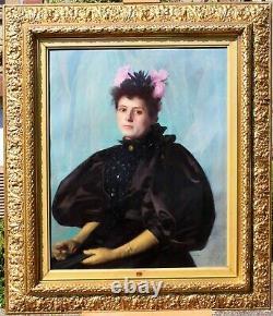 François FORICHON, portrait, femme, fleurs, tableau, robe, Art Nouveau
