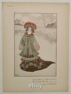 G. De Feure Aquarelle décorative vers 1900 Estampe en couleur Art Nouveau Femme
