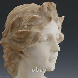 G. Morin Femme Avec Couronne de Laurier Um 1900 Albâtre Blanc Bicolore Buste