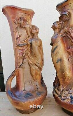 Garniture de Cheminée Duo de Vases en Plâtre Art Nouveau Femme Fleur 49 cm