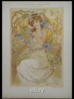 Gaston Gerard, Clematites, Femme 1900 Lithographie, Art Nouveau