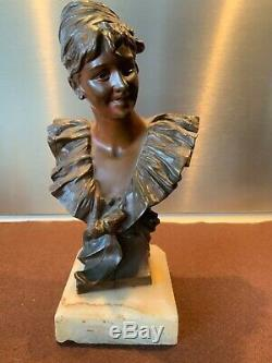 Georges De Van Der Straeten Buste De Femme Souriante Art Nouveau