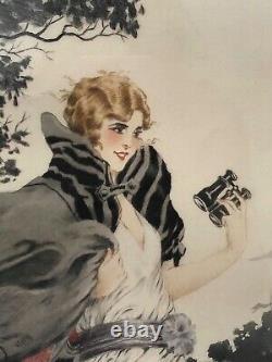 Georges Grellet Gravure Femme A La Jumelle Course Bateau 1900 Art Nouveau G616