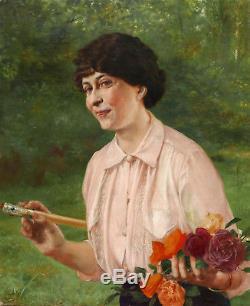 Georges Récipon tableau huile toile portrait femme jardin fleurs roses ombrelle