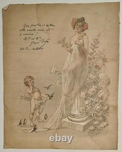 Georges Redon Élégante et enfant 1903 Estampe en couleur Art Nouveau Femme