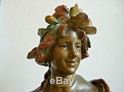 Grand Buste Terre Cuite Femme Fleur Art Nouveau 1900 Jugendstil Goldscheider