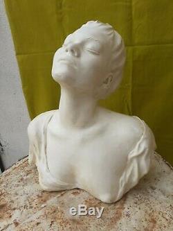 Grand Imposant Buste Femme Plâtre XXe Style Art Nouveau Art Déco Statue 46 cm
