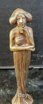 Grand Sceau Cachet Bronze Typique Femme Art Nouveau Wax Seal Ep. 1900 French