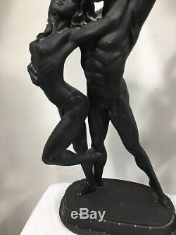 Grand Sexy Paire De Art Déco Nouveau Homme & Femme Chair Statue Lampes Avec