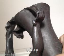 Grand Vase Aiguiére en Etain Art nouveau femme signé A. BARYE