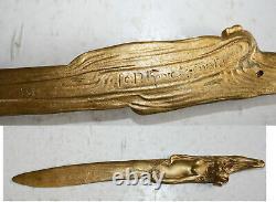 Grand coupe papier bronze doré 30,5 cm art nouveau femme nue signé