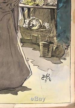 Grande Aquarelle Art Nouveau Belle Epoque 1900 Marché Fleurs Femmes Signée Dick