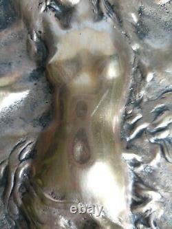 Grande Feuille Art Nouveau Bronze Georges Delperier Salon 1900 Femme G2115