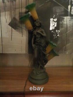 Grande Lampe Femme Art Nouveau 1900 En Resine Facon Bronze A 4 Tulipe