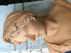 Grande Statue buste de femme Art Nouveau terre cuite Epoque 1900 signée