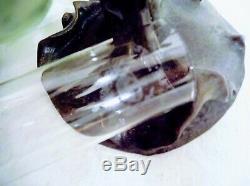 Grande lampe à pétrole art nouveau, femme, chardons, J. Causse, réservoir émaillé