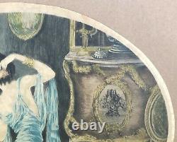 Gravure Aquatinte Art Nouveau Art Déco Femme Miroir Mode Fleur Style Louis Icart