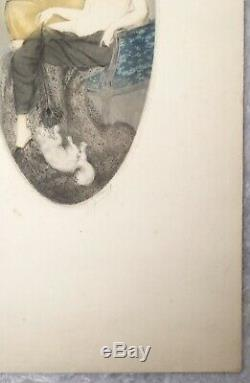 Gravure Aquatinte Art Nouveau Art Déco Femme Nue Plume Paon Chat style Icart