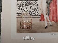 Gravure Aquatinte Art Nouveau/Déco Jeune Femme Cage à Oiseaux CASTAING 1910