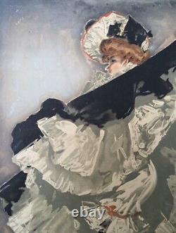 Gravure Art Nouveau Jacques Wély Portrait Femme Danseuse French Cancan Rose