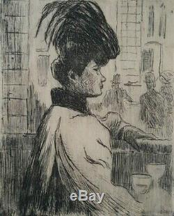 Gravure Ludovic-Rodo Pissarro femme Moulin Galette Montmartre Paris 1900