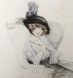 Gravure Originale Portrait Femme Élégante Chapeau Eventail Maurice Millière 1913