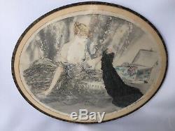 Gravure Par Louis Icart Femme A La Malle Contre Signe 1900 Avec Marge E353