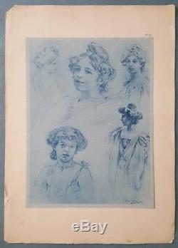 Gravure estampe aquatinte Alphonse Mucha femmes Art Nouveau 1900 XXème