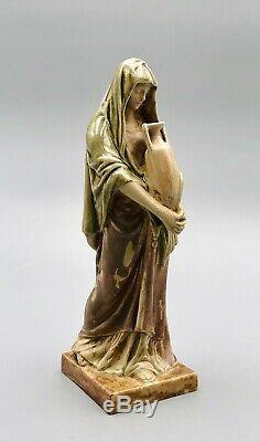 Grès MOUGIN NANCY statuette femme drapée à lamphore French art nouveau pottery