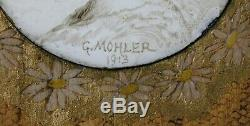 Gustave MOHLER (1836-1920)portrait miniature sur CUIVRE femme ART NOUVEAU Nevers
