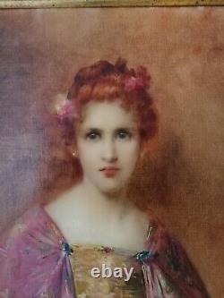HST PORTRAIT FEMME ART NOUVEAU Léon TIRODE (1873-1956)