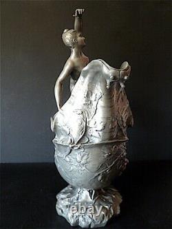Henry Fugère Vase étain Art Nouveau 1900 Escargot Vigne Femme Nue Jugendstil