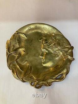 Henryk KOSSOWSKI. Art Nouveau. Vide poche en bronze, femme. Au Gui