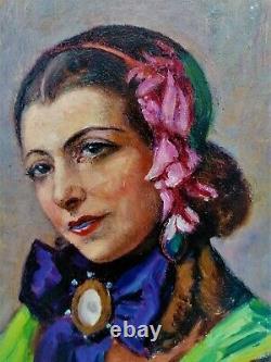 Huile-peinture-portrait-jeune Femme-art Nouveau-art Deco-signature-