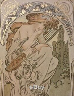 Illustrateur Alphonse Mucha 1898 cpa femme a la harpe art nouveau old postcard