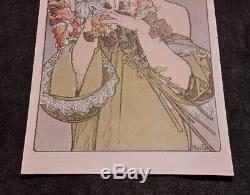 Illustrateur Mucha femme fruits et fleurs 2 cpa 1900 art nouveau dos non divisé