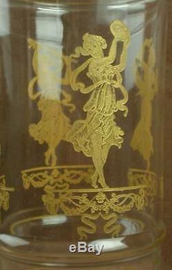 Important Vase Art Nouveau Verre Gravé Emaillé A L'or Decor De Femmes Baccarat