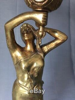Importante Lampe Femme BRONZE Art Nouveau