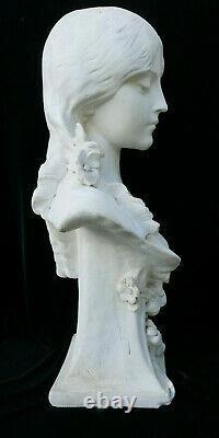 Imposant Buste Femme Plâtre Art Nouveau Jugendstil Signé à Identifier 1900