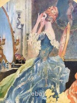 Inconnu Symbolist Art Nouveau Femme dans La Garde-Robe Commode de Coiffure 61x41