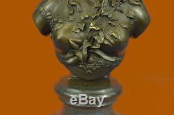 Incroyable Style Art Nouveau Bronze Buste Femelle Fille Femme Signée B. Carrier