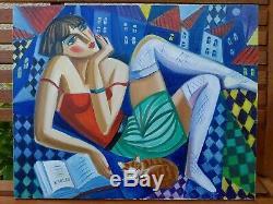Isaac KAPLAN (Jeune femme à la lecture et son chat) Huile sur toile
