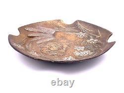 J. JOUANT Coupe bronze Art Nouveau femme libellule c. 1900 dragonfly lady cup
