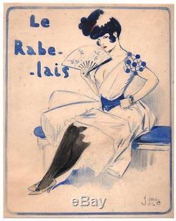 Jacques Wély. Aquarelle originale. Femme à l'éventail. 1902